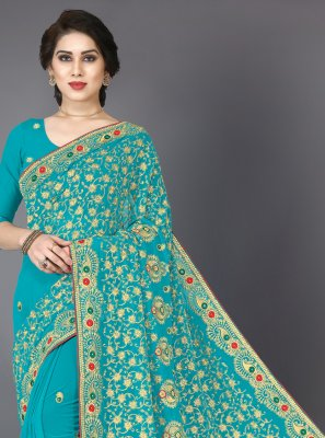 Resham Georgette Contemporary Saree in Turquoise