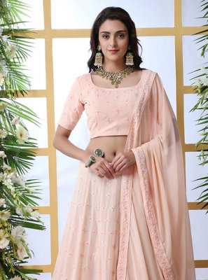Resham Georgette Lehenga Choli in Peach