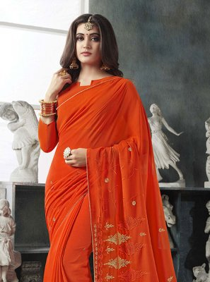 Resham Georgette Orange Classic Saree