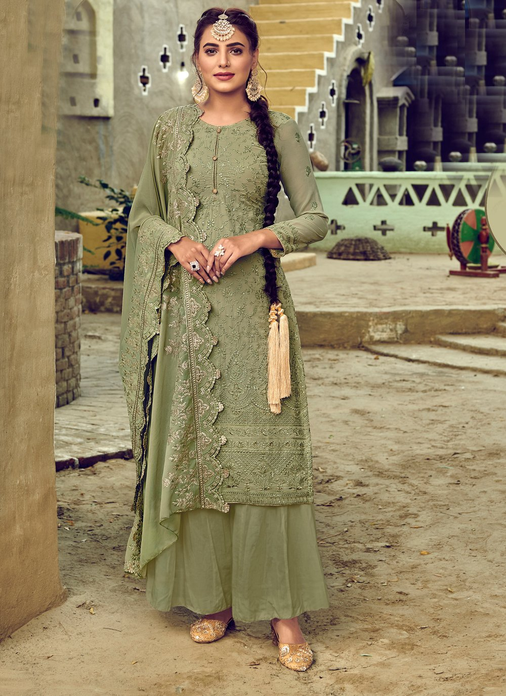 Resham Green Designer Palazzo Salwar Suit
