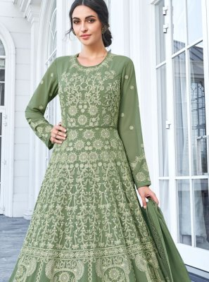 Resham Green Floor Length Anarkali Salwar Suit