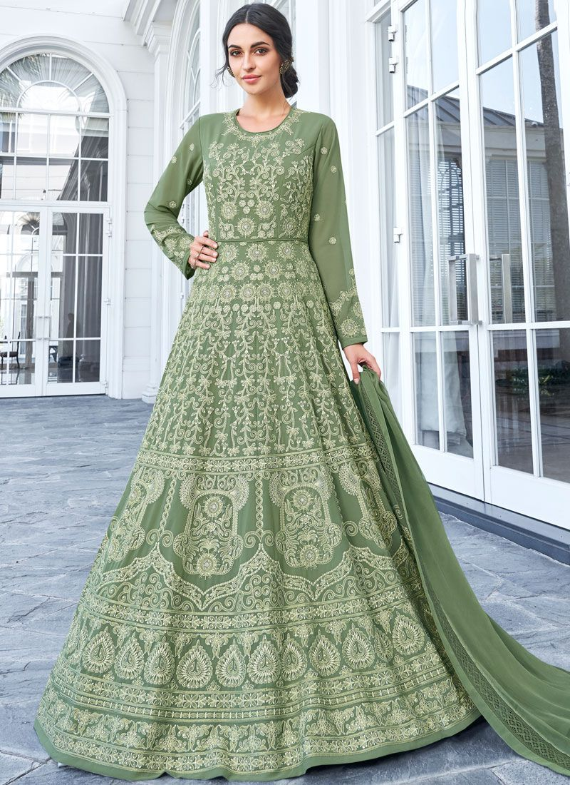 Resham Green Floor Length Anarkali Salwar Suit