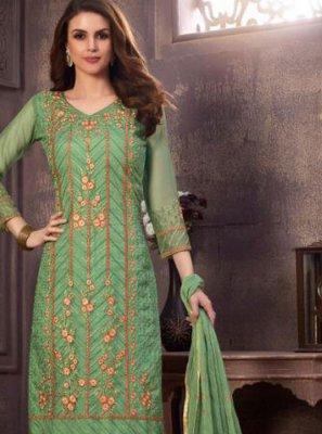 Resham Green Organza Designer Suit