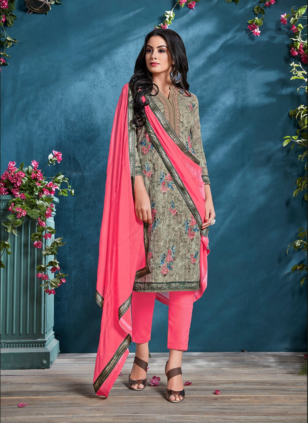Resham Grey Cotton Churidar Designer Suit