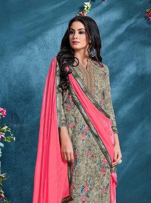 Resham Grey Cotton Churidar Designer Suit