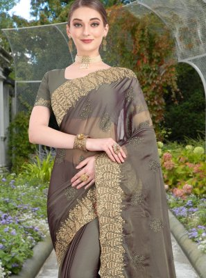 Resham Grey Trendy Saree
