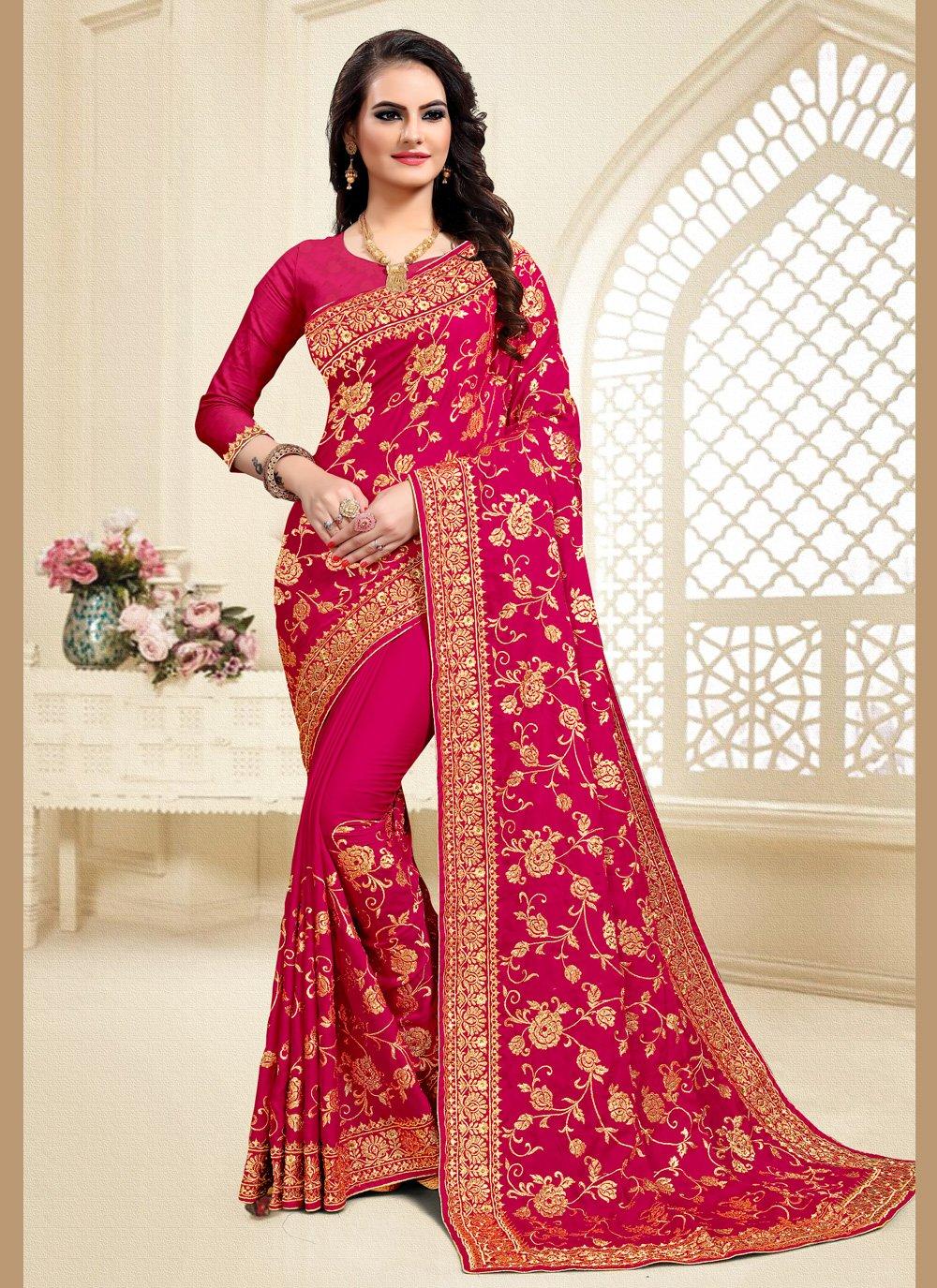 Resham Hot Pink Designer Saree