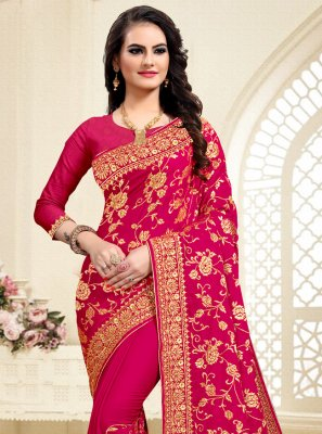 Resham Hot Pink Designer Saree