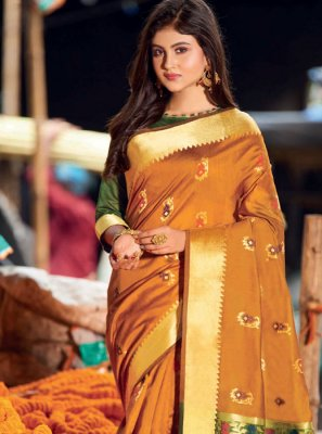 Resham Mustard Cotton Silk Saree
