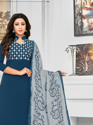 Resham Navy Blue Cotton Salwar Kameez