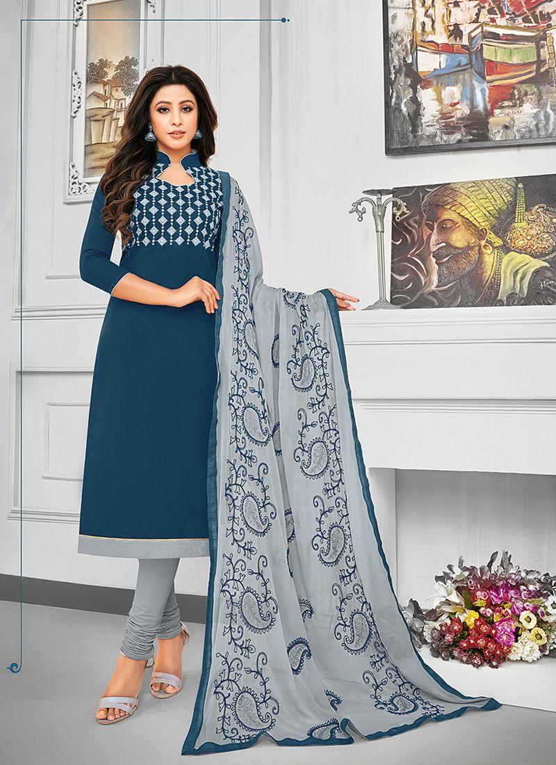 Resham Navy Blue Cotton Salwar Kameez