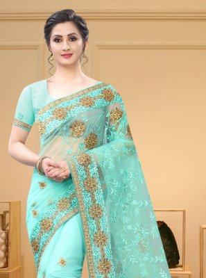 Resham Net Aqua Blue Trendy Saree