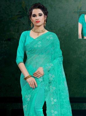 Resham Net Classic Saree in Sea Green