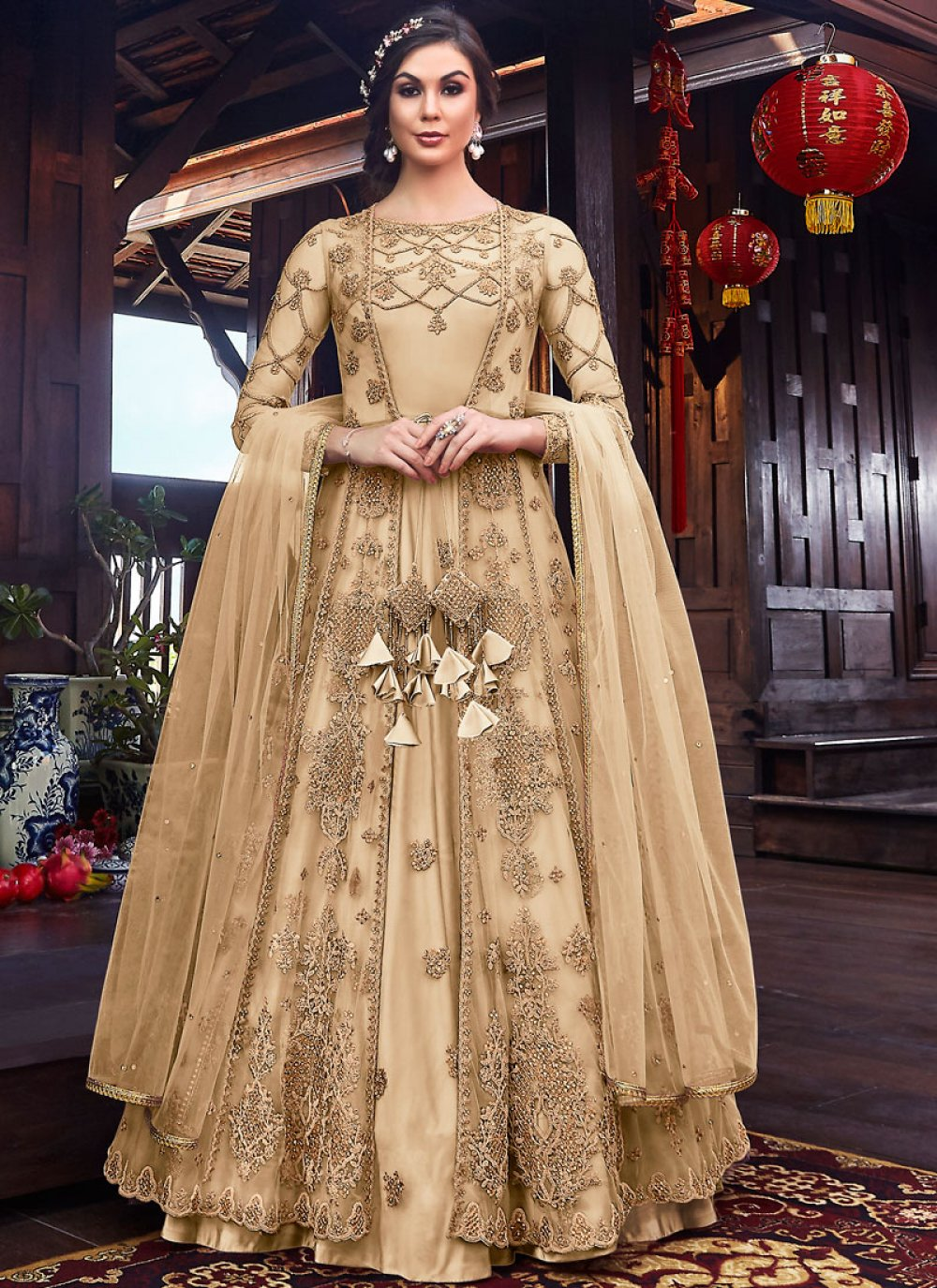 Resham Net Cream Long Length Anarkali Suit