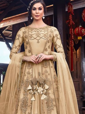 Resham Net Cream Long Length Anarkali Suit