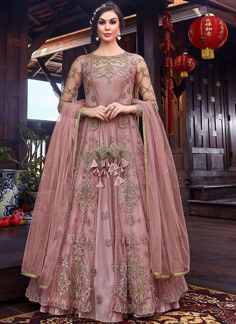 Resham Net Desinger Anarkali Salwar Kameez in Pink