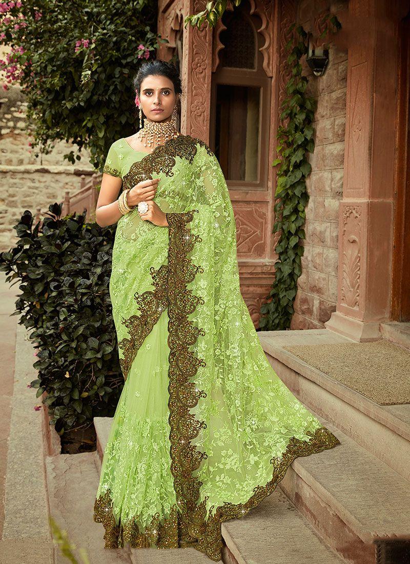 Resham Net Green Classic Designer Saree