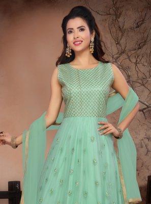 Resham Net Green Salwar Kameez