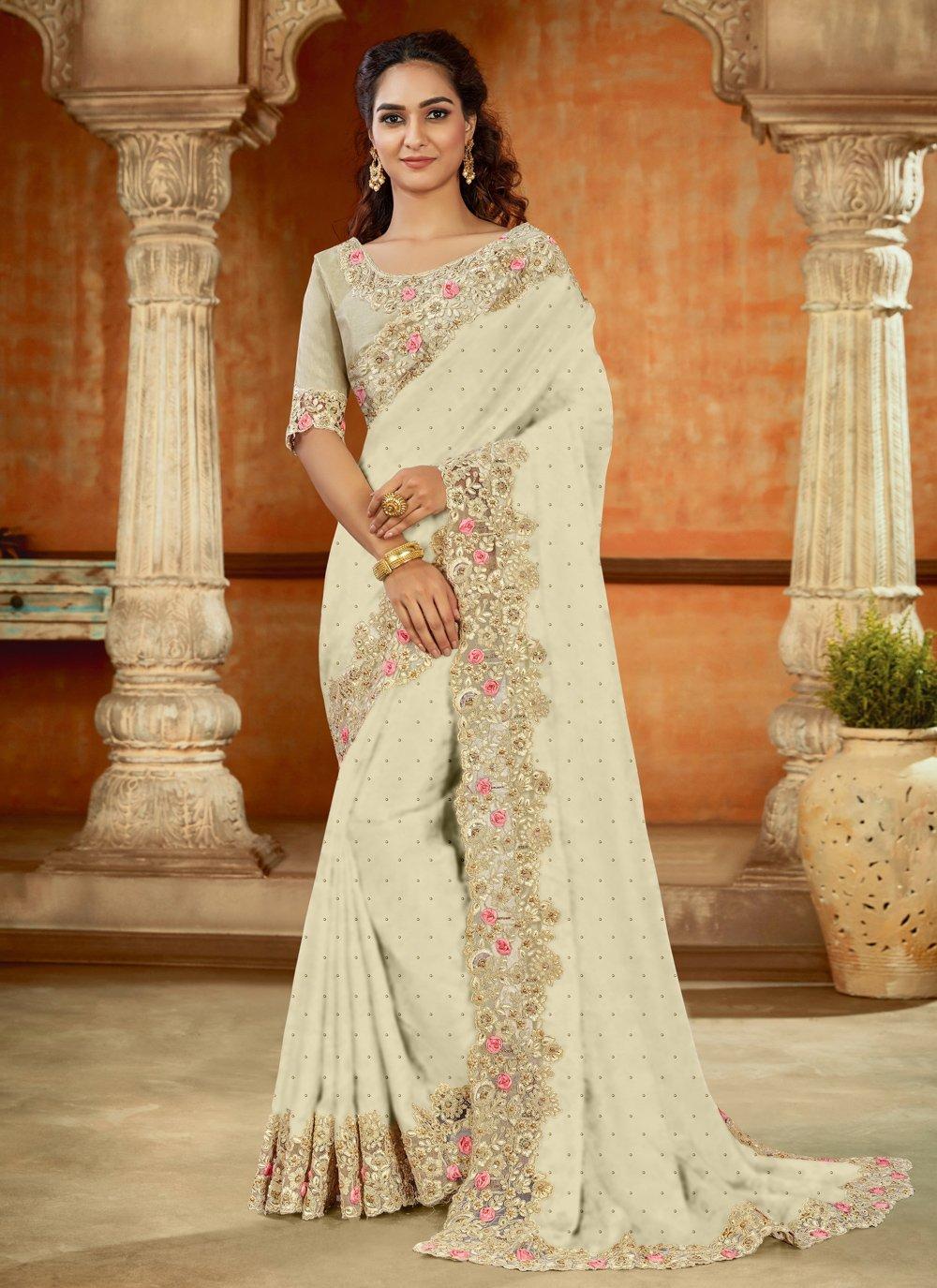 Resham Off White Satin Bollywood Saree