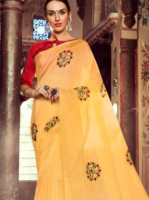 Resham Orange Linen Casual Saree