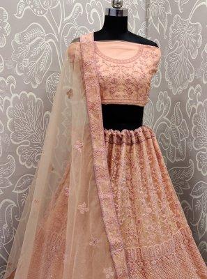 Resham Peach Net Designer Lehenga Choli
