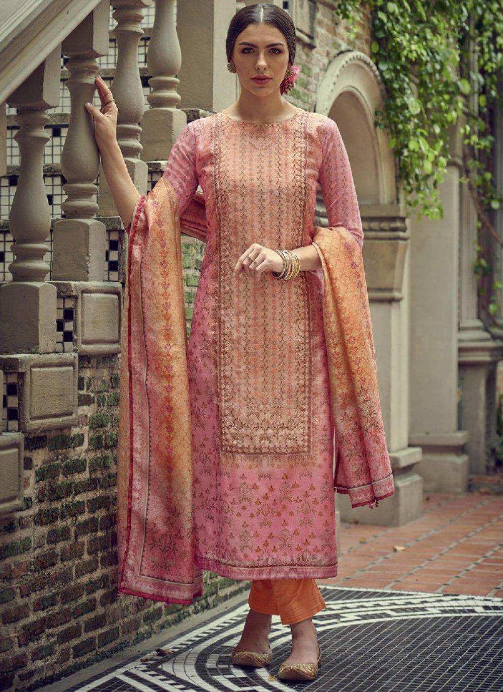 Resham Peach Silk Salwar Kameez