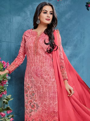 Resham Pink Cotton Churidar Designer Suit