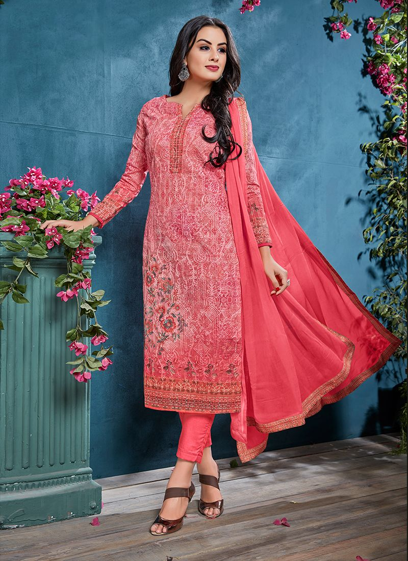 Resham Pink Cotton Churidar Designer Suit