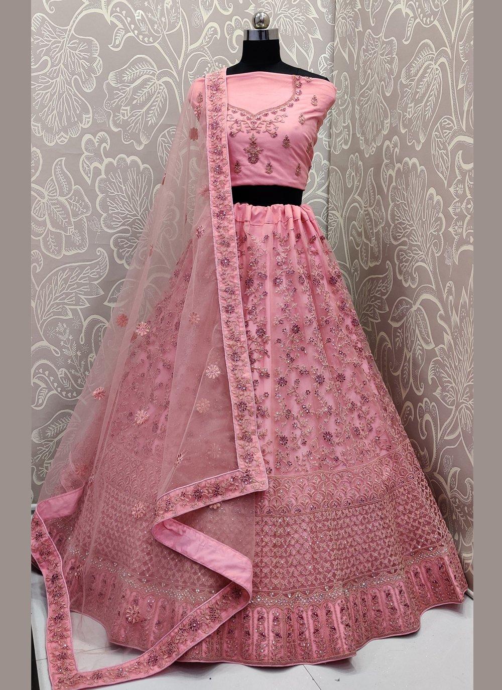 Resham Pink Net Designer Lehenga Choli