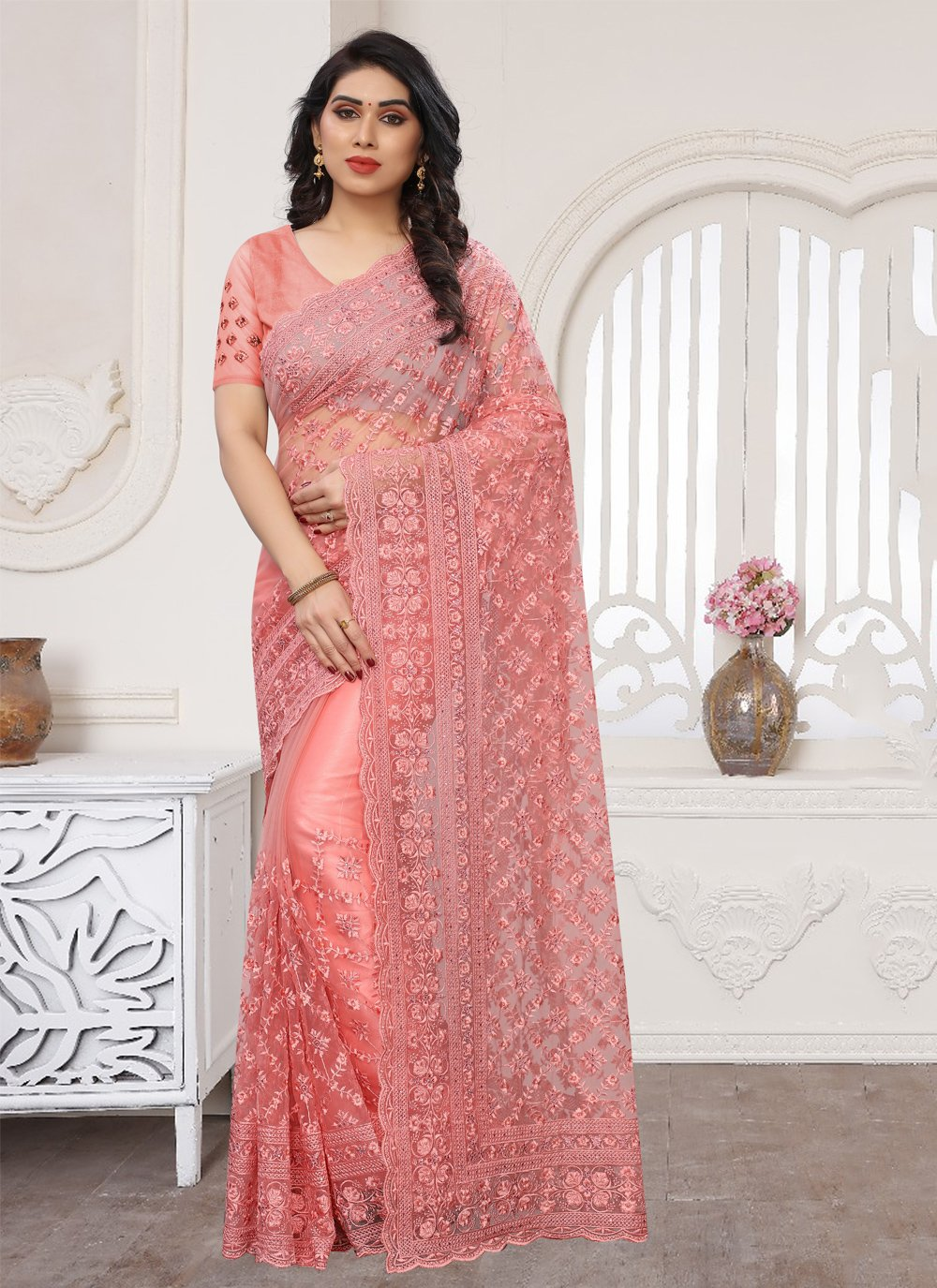 Resham Pink Net Designer Saree