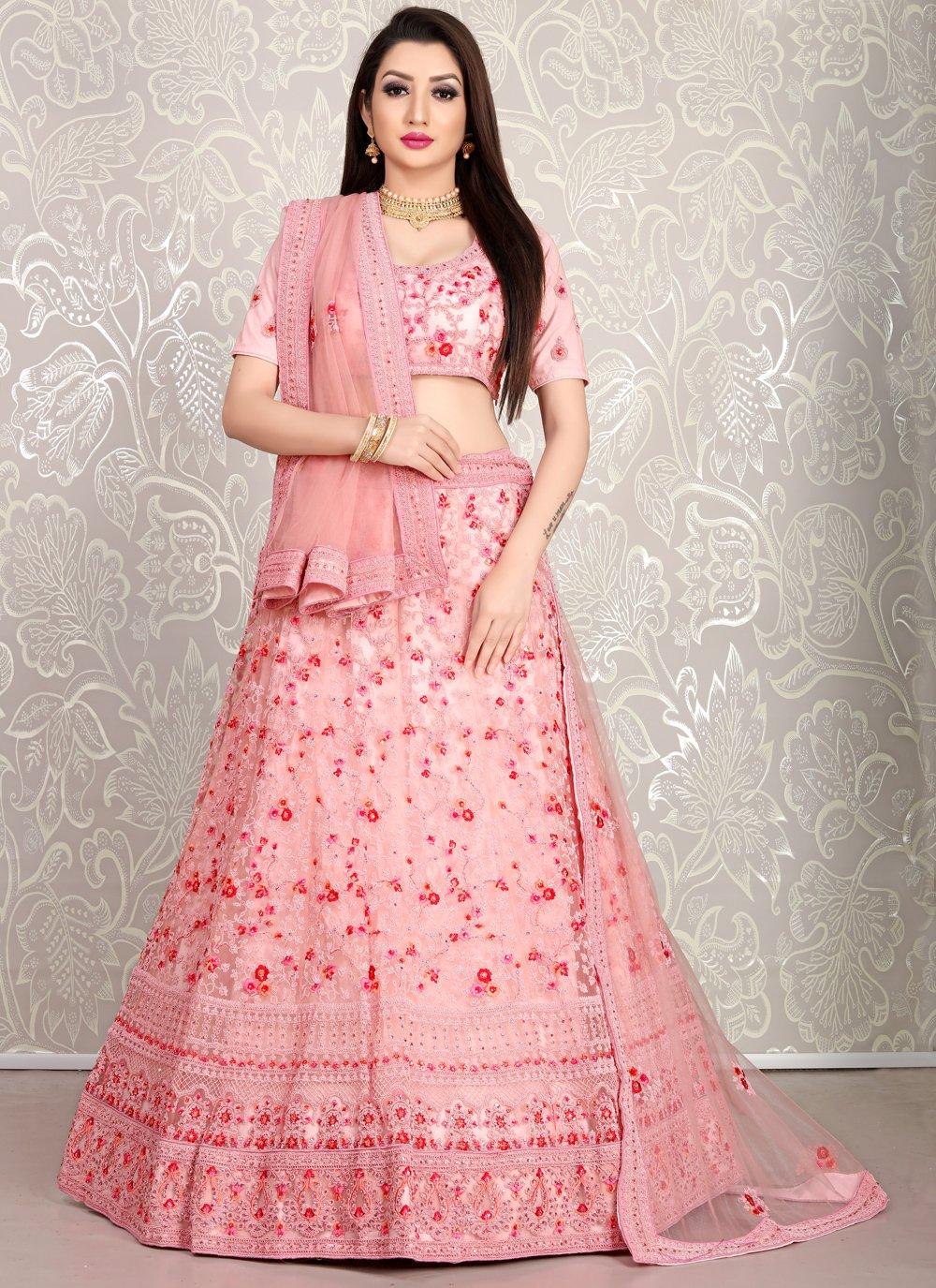 Resham Pink Net Lehenga Choli