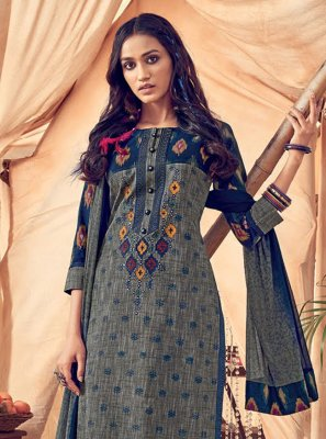 Resham Polly Cotton Blue Churidar Salwar Kameez