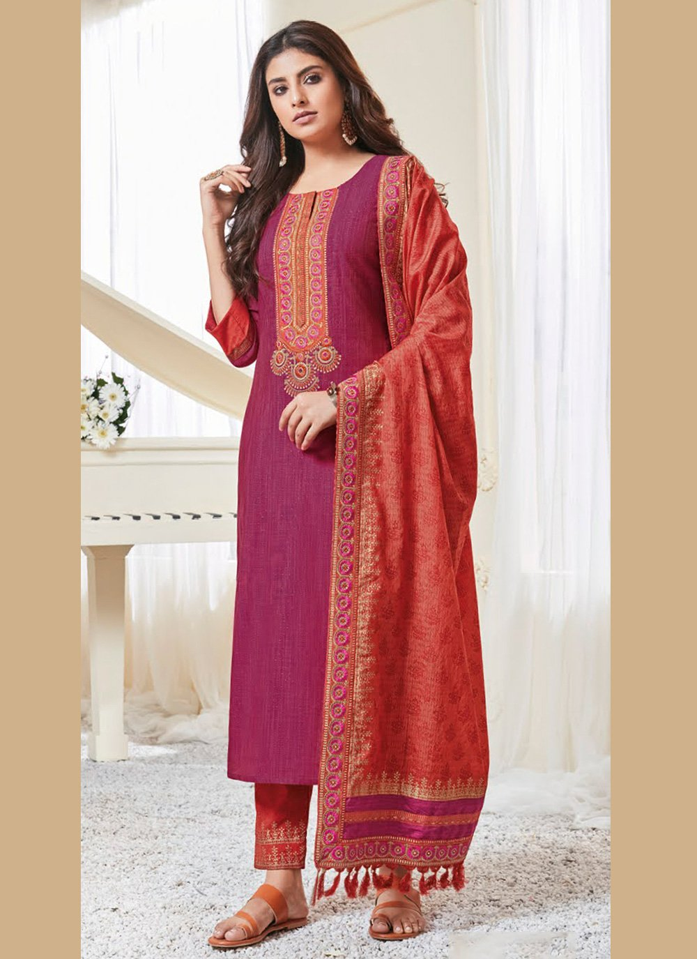 Resham Polly Cotton Pant Style Suit