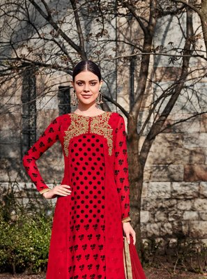 Resham Red Faux Georgette Anarkali Suit