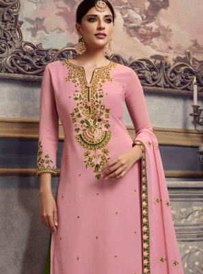 Resham Rose Pink Faux Georgette Trendy Palazzo Salwar Suit