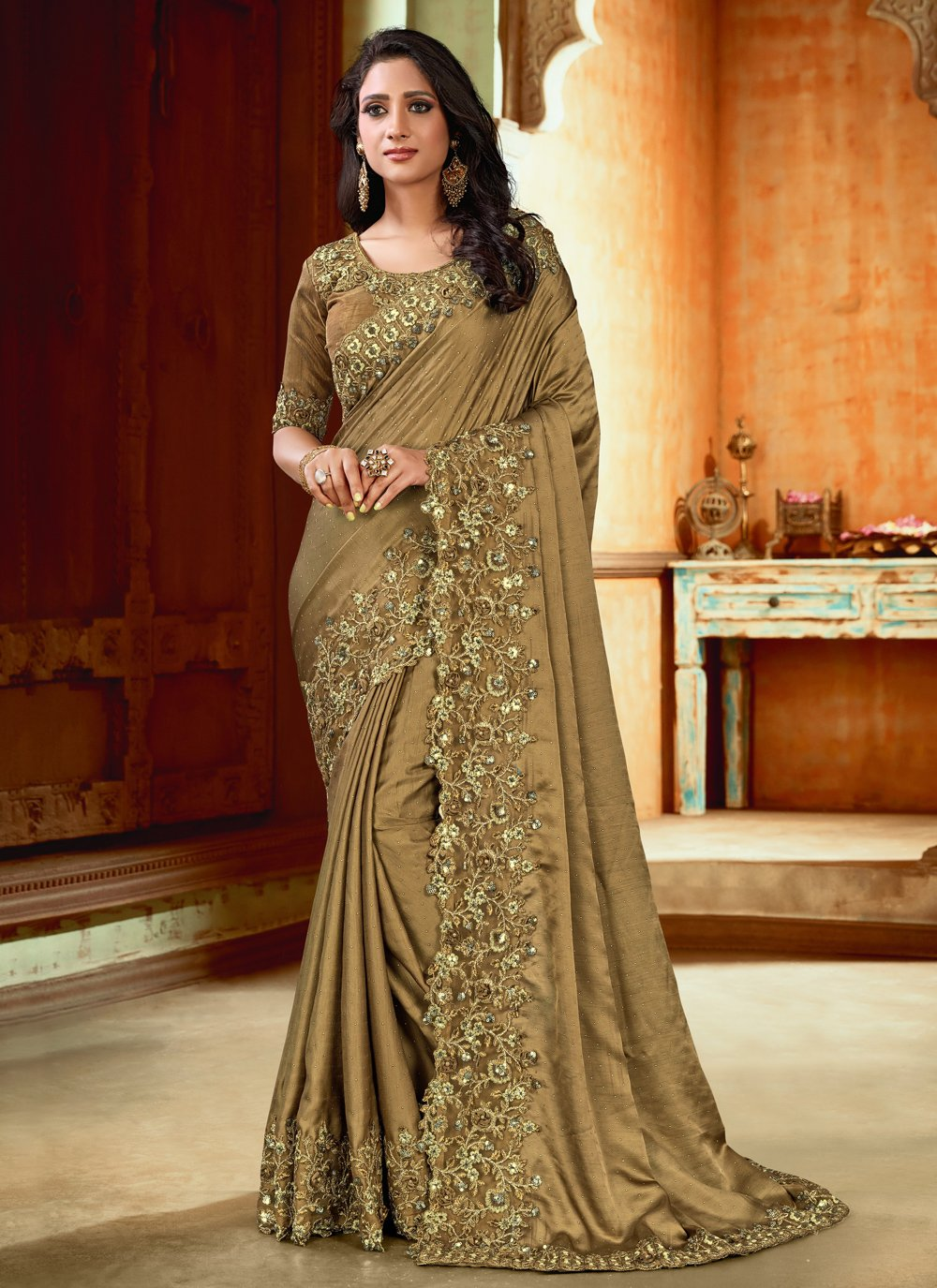 Resham Satin Contemporary Saree