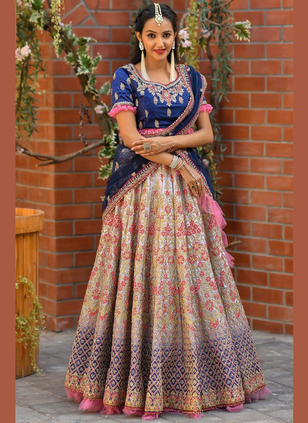 Resham Satin Multi Colour Trendy Lehenga Choli