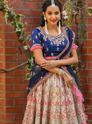 Resham Satin Multi Colour Trendy Lehenga Choli
