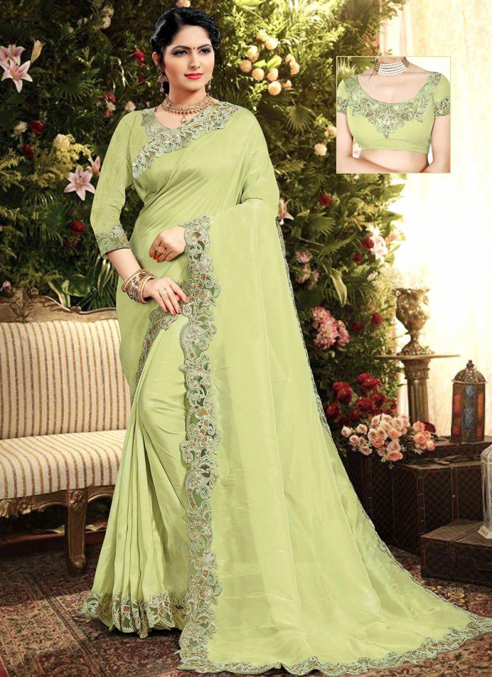 Resham Silk Designer Saree in Green