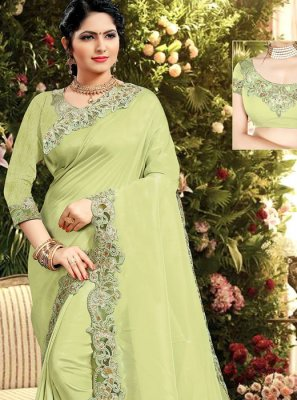 Resham Silk Designer Saree in Green