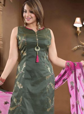 Resham Silk Green Salwar Suit