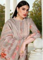 Resham Silk Grey Designer Suit