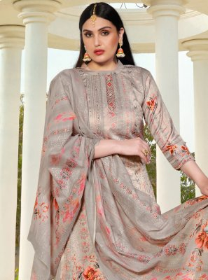 Resham Silk Grey Designer Suit