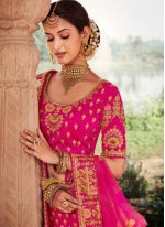 Resham Silk Lehenga Choli in Pink