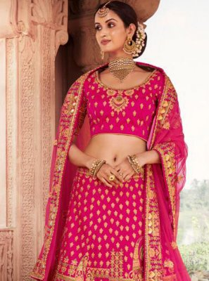 Resham Silk Lehenga Choli in Pink