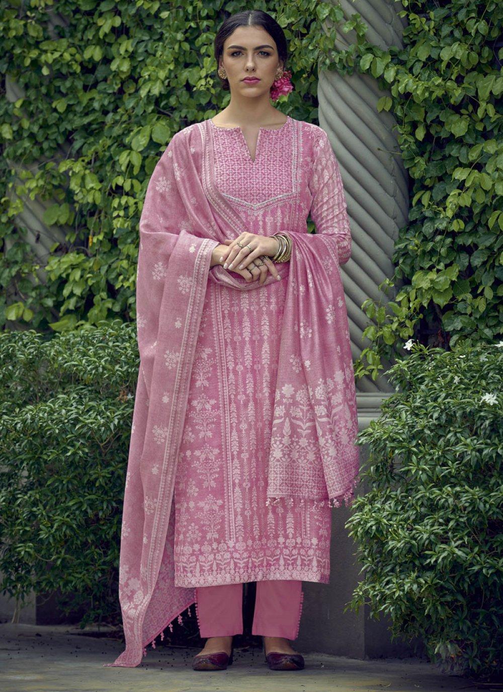 Resham Silk Pink Pakistani Salwar Kameez