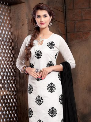 Resham Silk Salwar Suit in White
