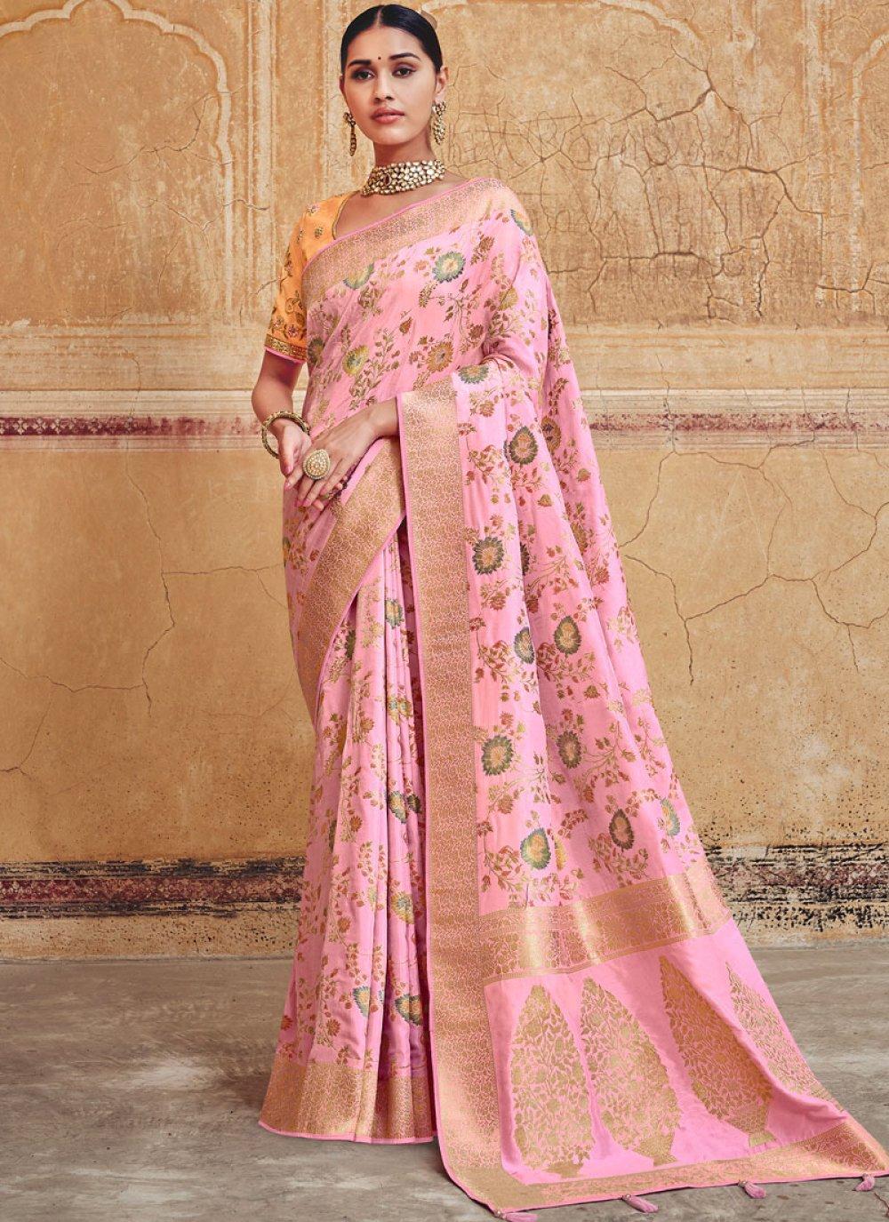 Resham Silk Silk Saree in Rose Pink
