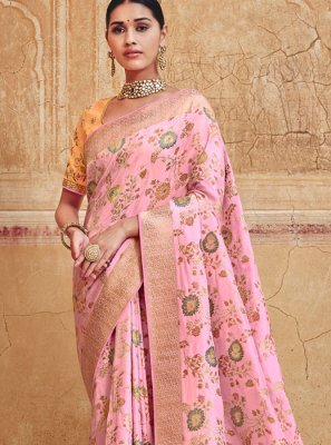 Resham Silk Silk Saree in Rose Pink