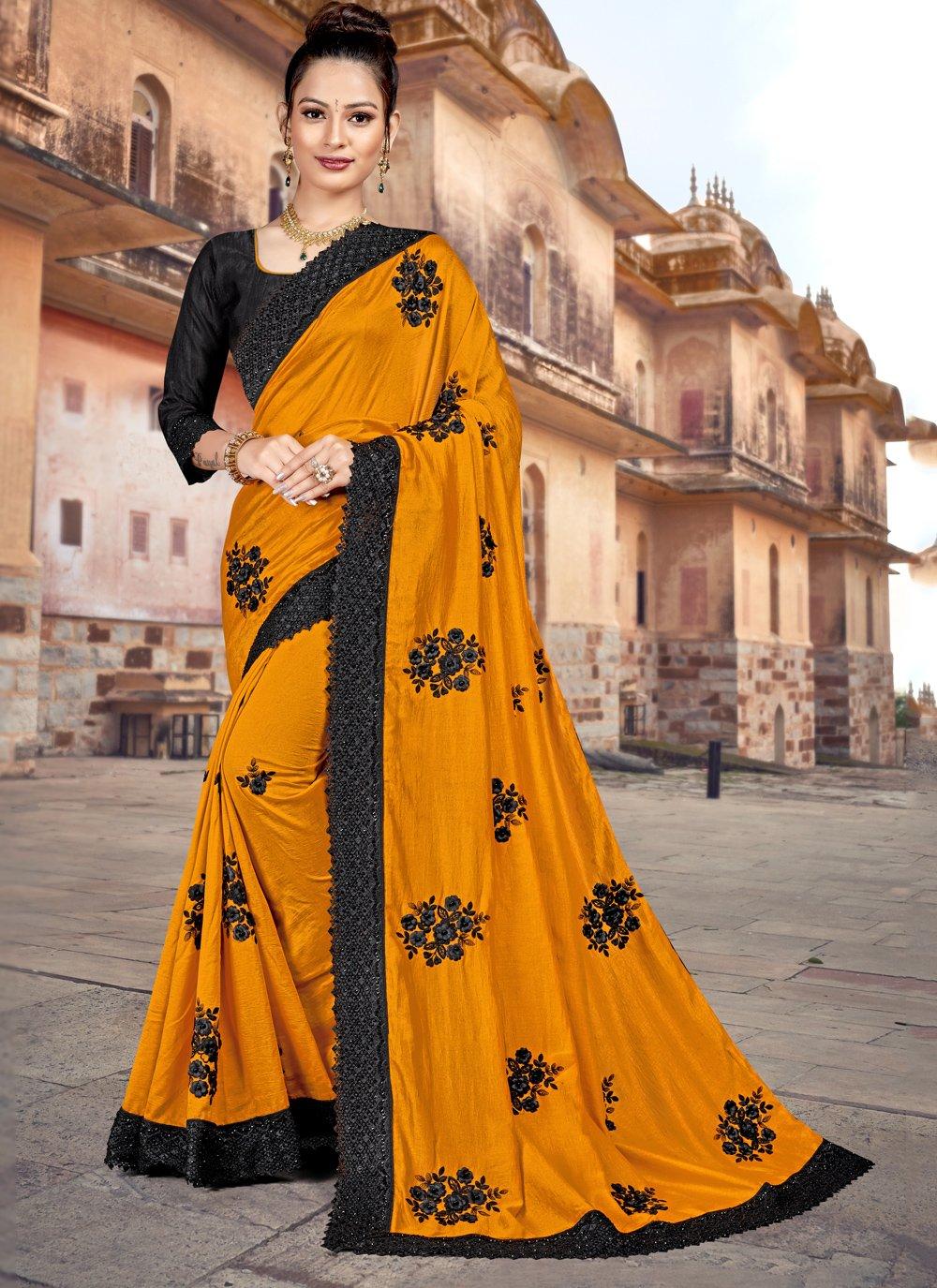 Resham Silk Yellow Classic Saree